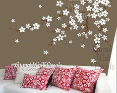 white cherry blossom Vinyl wall decals by Cuma wall decals on Zibbet
