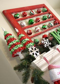 Decor Inspiration - repurposed old window frame as vintage ornament display. A Diamond in the Stuff: Thrifty Thursday #50