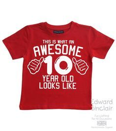 This is what an awesome 10 year old looks like. Boys 10th Birthday T-shirt