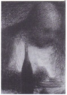 Georges Seurat Drawings- even though the facial features are somewhat defined, it kinda looks spooky because he isn't giving us any sharp details. Georges Seurat, Life Drawing, Painting & Drawing, Colorful Drawings, Art Drawings, Art Postal, Statues, Chiaroscuro, Drawing Techniques