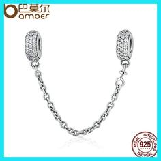 cae1dee899e3 100% 925 Sterling Silver Pave Inspiration Safety Chain