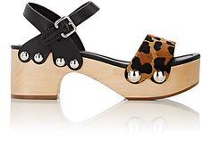 Prada Calf Hair & Leather Ankle-Strap Clog Sandals - Platforms - Barneys.com