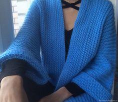 Купить Вязаный кардиган кимоно с широкими рукавами - голубой, кардиган вязаный, кардиган крючком