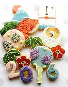Fancy Cookies, Iced Cookies, Cute Cookies, Royal Icing Cookies, Sugar Cookies, Japanese Cookies, Japanese Sweets, Cupcakes, Cupcake Cookies