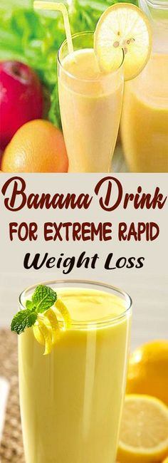 Banana Drink for Extreme Rapid Weight Loss - Weight Loss Smoothies - Smoothie Recipes Diet Food To Lose Weight, Quick Weight Loss Tips, Weight Loss Snacks, Weight Loss Drinks, Weight Loss Smoothies, Healthy Smoothies, Healthy Drinks, Smoothie Recipes, How To Lose Weight Fast