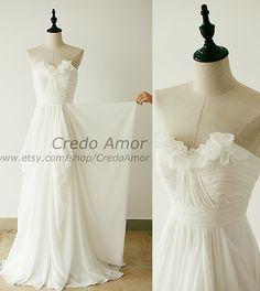Strapless Sweetheart Chiffon Ruffle Wedding Dress Bridesmaid Dress Prom Dress