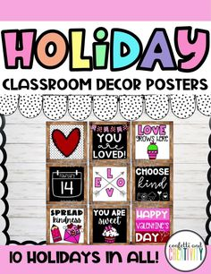 Thinking about decorating your classroom for the holidays, teachers?! Your classroom holiday decorating has never been this easy with this printable bundle which includes posters for every major holiday! These posters will display beautifully on your bulletin board, classroom door, walls, or even as your distance learning backdrop! Classroom holiday decorations // Classroom posters // Classroom decor // Classroom bulletin board ideas Kindergarten Classroom Decor, High School Classroom, Classroom Bulletin Boards, Classroom Walls, Inspirational Classroom Posters, Major Holidays, Quote Posters, Holiday Decorating, Board Ideas