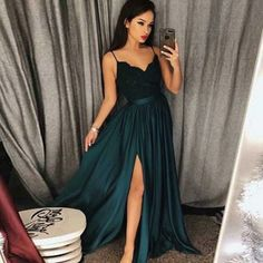 A-Line Spaghetti Straps Dark Green Long Prom Dress with Lace