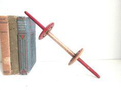 Primitive Kite String Spool Wooden Winder Vintage Toys by ElmPlace,
