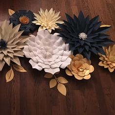Navy, white, and gold giant paper flowers!!So elegant! Perfect for a home decor or party.. bridal shower or wedding!!