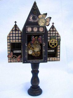 Matchbox house triptych, by L. Mahaffey  cackleandhoot.blogspot.com