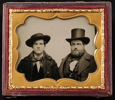 GREAT AMBROTYPE - 2 MEN WITH HATS - 2 CHARACTERS - 1/6TH PLATE | eBay