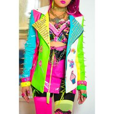 NEON RAINBOW STuDDED/SPIKED Pleather Vinyl Jacket ($699) via Polyvore featuring outerwear, jackets, patch, neon jacket, fluorescent jacket, spiked jacket, neon pink jacket and vinyl jacket