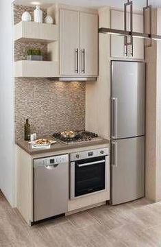 New kitchen cabinets small layout tiny homes Ideas Kitchen Design Small, Modern Kitchen, Kitchen Remodel Small, Kitchen Appliances Design, Stylish Kitchen Design, House Design Kitchen, Tiny House Kitchen, Kitchen Layout, Kitchen Wall Decor