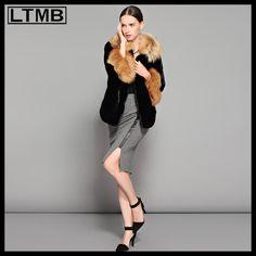 LTMB Women mink fur coat turn down fox fur collar and cuff fashion fox fur coat ladies winter clothing luxury fur new design $6,682.14