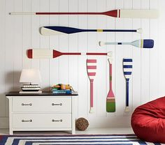 Oar Decor, small navy striped & Medium red and white! #PotteryBarnKids