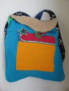 backpack from heartbeat-design handmade Jute 31cm x 26cm new Rucksack organic