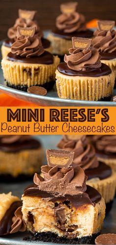 Mini Reese s Peanut Butter Cheesecakes Recipe Queenslee App tit Reese's Peanut Butter Cheesecake, Mini Cheesecake Recipes, Cheesecake Bites, Peanut Butter Recipes, Reeses Peanut Butter Cupcakes, Chocolate Cheesecake, Reese's Peanut Butter Cups, Mini Cheesecake Cupcakes, Coconut Cupcakes