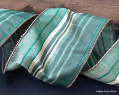 Green Striped Wired Ribbon 4' wide  Moss, Olive, Emerald from Cottage Crafts Online