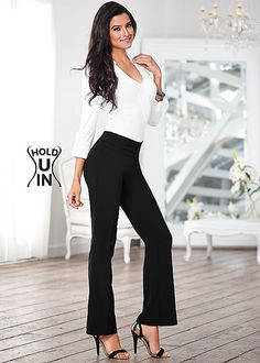 Style so easy, all you have to do is pull them on! Venus slimming pull on pants with Venus knit shirt bodysuit.