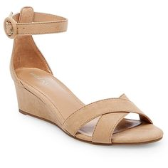 Women's Izabella Wedge Pumps with Ankle Straps - Tan 9.5
