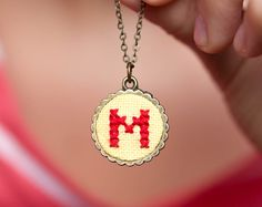 Personalized necklace Initial necklace custom color on