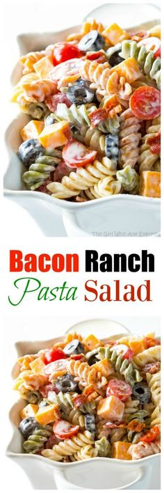 Bacon Ranch Pasta Salad flavorful pasta salad with cheddar cheese olives tomatoes and bacon Covered in a creamy ranch sauce thegirlwhoate Bacon Ranch Pasta Salad, Pasta Salad Recipes, Bacon Pasta, Crab Salad, Cooking Recipes, Healthy Recipes, Cooking Tips, Summer Salads, Soup And Salad