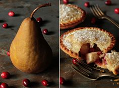 Pear and Cranberry Individual Pies from @Jamie Lothridge. This week's theme for the Holiday Recipe Exchange is PIES! Come enter a great giveaway for a chance to win a Breville Individual Pie Maker Machine!
