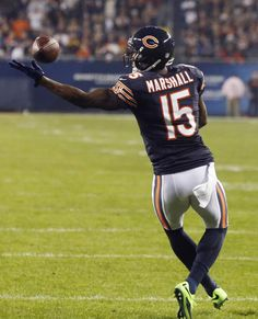 Best of NFL Week 6  --  Chicago Bears wide receiver Brandon Marshall misses a pass on fourth-and-goal in the first half of an NFL football game against the New York Giants, Thursday, Oct. 10, 2013, in Chicago. (AP Photo/Charles Rex Arbogast)