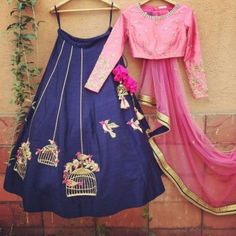 Poly Silk Machine Work Blue Semi Stitched Lehenga - Z1063