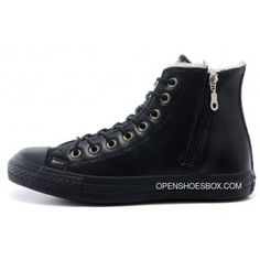e8921aa3574e All Black Converse Leather Velvet Winter Side Zip Chuck Taylor All Star  High Tops Sneakers Online