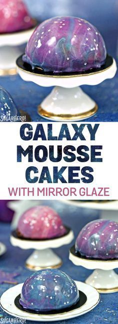 Galaxy Mousse Cakes - mini chocolate mousse cakes on a brownie, with a gorgeous galaxy mirror glaze on top! Made in partnership with @InDelight   From SugarHero.com #ad #creamernation