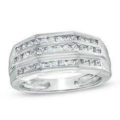 Men's 1 CT. T.W. Diamond Three Row Ring in 10K White Gold