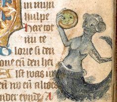 """centuriespast:  """"BLMedieval f. 67r: Mermaid With a Mirror  Netherlands (c. 1410-1420)  """""""