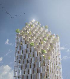 Des panneaux solaires pour alimenter le gratte-ciel en bois