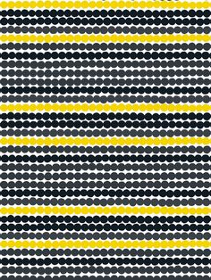 Marimekko's Räsymatto fabric is made of thick cotton and features Maija Louekari's lovely pattern in black, yellow and grey. Räsymatto, Finnish for rag rug, depicts the texture of traditional rag rugs in a delightful manner. Motifs Textiles, Textile Patterns, Textile Prints, Textile Design, Color Patterns, Fabric Design, Print Patterns, Pattern Designs, Lino Prints