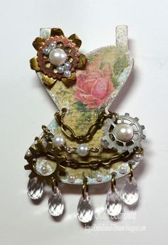 Embellished Dreams: Spellbinders Media Mixage - Romantic Steampunk Corset Pin, Jan. 2013