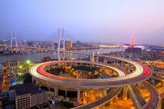 Traffic on Nanpu Bridge, Shanghai