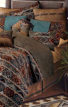 Rio Grande Southwestern Bedding Collection Like, but Dry Clean Only! Southwestern Bedroom, Southwest Decor, Southwestern Decorating, Rio Grande, Home Bedroom, Bedroom Decor, Bedroom Ideas, Rustic Bedding Sets, Western Rooms