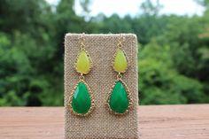 Peach Roots - Green/Lemon Two Stone Teardrop Earrings, $11.50 (http://peachroots.com/green-lemon-two-stone-teardrop-earrings/)
