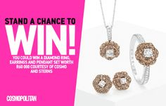 WIN A Diamond Ring, Earrings and Pendant Set Worth R60 000 Ring Earrings, Diamond Earrings, Magpie, Pendant Set, Cosmopolitan, Bling Bling, Sparkles, Competition, Porn