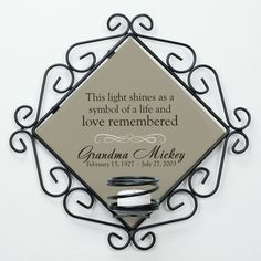 Personalized Memorial Candle Holder- Hang this beautiful candle holder in your home, and you can light a candle in memory of your loved one. Great to have at a celebration of life or funeral service. What a great gift instead of flowers!