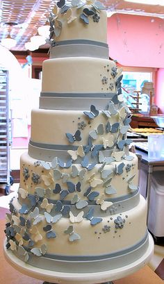 Blue butterflies by Jamie Anderson, via Flickr. Cute idea, but, again, with buttercream instead of fondant.
