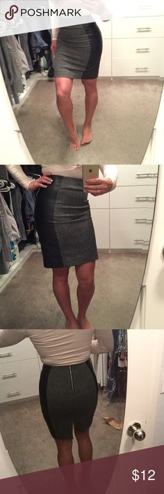 H&m fall skirt. Faux letter sides. Amazing! ! Size 4worn one time! Simple and perfect condition. Zipper in back. High waisted. I am 5'6. Skirt has faux leather on sides. Gorgeous business skirt H&M Skirts Pencil