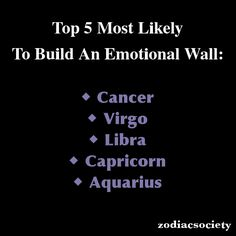 Zodiac Society - Top 5 Most Likely to Build an Emotional Wall: Cancer, Virgo, Libra, Capricorn, Aquarius