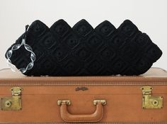 Vintage 1940s Black Deco Oversized Crochet by WearAreTheyNow, $64.00