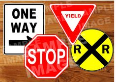 Planes Trains and Automobiles PRINTABLE Road Signs - Transportation Road Signs - Printable INSTANT DOWNLOAD - Stop Yield Railroad One Way on Etsy, $4.00