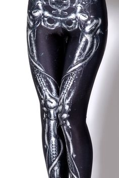 Empire Waist Bone Leggings In Black Color