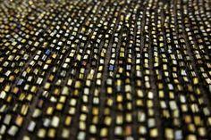 Metallic Bugle Beads on 100% Silk Chiffon