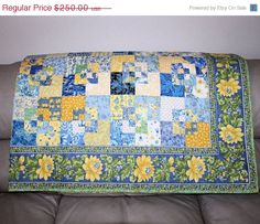 Mothers Day Sale Large Lap Quilt  Blue and by QuiltSewPieceful, $225.00